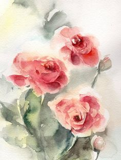Roses Original Watercolor Painting Red Roses Painting by CanotStop