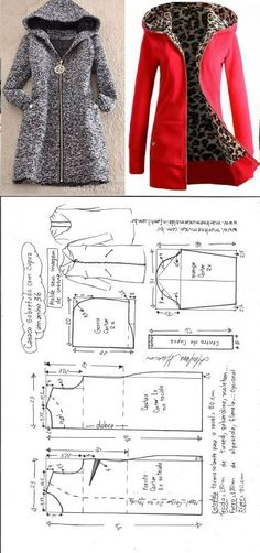 Sobretudo com capuz simples – DIY – molde, corte e costura – Marlene Mukai // Татьяна из Волжского Coat Patterns, Dress Sewing Patterns, Sewing Patterns Free, Clothing Patterns, Free Sewing, Shirt Patterns, Pattern Sewing, Pattern Drafting, Fashion Sewing