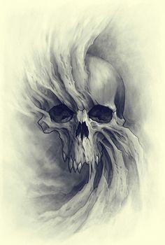ArtStation - by Kazimirov Dmitriy Evil Skull Tattoo, Skull Tattoo Design, Skull Design, Skull Tattoos, Body Art Tattoos, Tattoo Designs, Creepy Tattoos, Skull Reference, Totenkopf Tattoos