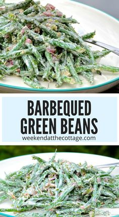 These creamy crunchy BBQ'd GREEN BEANS are a must try. The key to this recipe is barbequing the beans just until they're slightly crisp and crunchy, before tossing them in a cream cheese, dill and lemon. #BBQgreenbeans #grilling #vegetablesidedish #vegetarian #greenbeanrecipe #creamygreanbeans