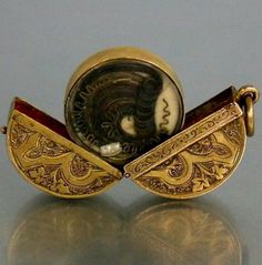 Gold Mourning Locket with Hair Art c. 1860's