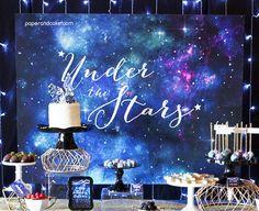Galaxy Dessert Table Sign Under the Stars Birthday Party Star Wars Party, 15th Birthday, Birthday Party Themes, Birthday Cake, Happy Birthday, Party Kulissen, Party Ideas, Galaxy Desserts, Galaxy Wedding