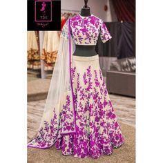 Bollywood Replica -  Wedding Wear Cream & Purple  Bhagalpuri Silk Lehenga Choli  - Neerja05