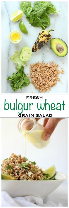 Healthy bulgur wheat salad with Cotija cheese and a creamy citrus yogurt dressing | Foodness Gracious