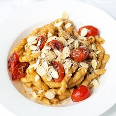 Sicilian pesto sauce is made with tomatoes, almonds, garlic, basil and Parmesan cheese