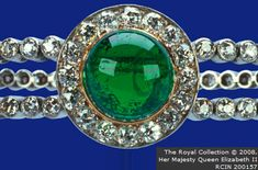Delhi Durbur Bracelet; made for Queen Mary (of Teck) to wear at the Delhi Durbar, incorporates three of the Cambridge emeralds and is en suite with the necklace.
