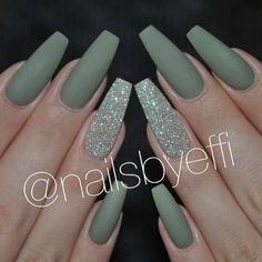 Matte Green Nails Do you like the way various nail art designs look on almond shaped nails? We do, that is why we decided to create a gallery featuring some awesome nail designs that work great for almond nails. Opt for this nail shape Prom Nails, Long Nails, Acrylic Nail Designs, Nail Art Designs, Acrylic Gel, Nails Design, Acrylic Nails Green, Acrylic Nails Coffin Matte, Green Nail Designs