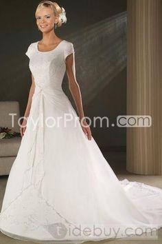 Classical A-Line/Princess Scoop Short-Sleeve Chapel Chiffon Wedding Dresses