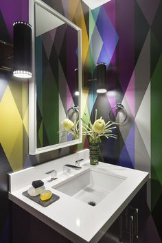 Bright & Colorful Wallpapered Powder Room Design by @ann for more inspiration visit: http://www.bocadolobo.com/en/inspiration-and-ideas/