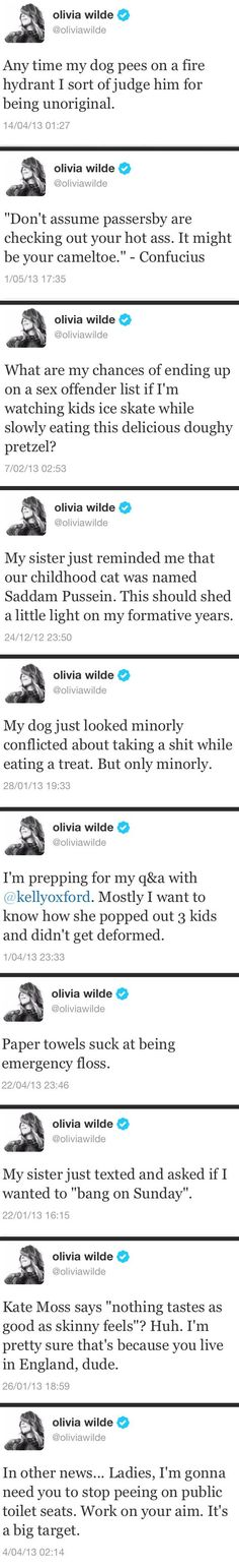Olivia Wilde has some really funny tweets - http://limk.com/news/olivia-wilde-has-some-really-funny-tweets-141388580/