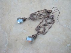 blue crystal earrings in copper by EdisLittleTreasures on Etsy, $48.00 http://www.etsy.com/listing/98579628/blue-crystal-earrings-in-copper