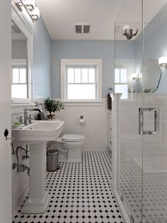 Blue And White Bathroom Bathroom Victorian With Black White ...