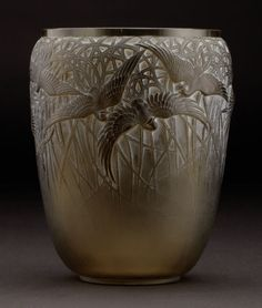 "R. LALIQUE ""Aigrettes"" An Olive Green Glass Vase, Marcilhac no. 988, designed 1926 Marks: engraved R. LALIQUE FRANCE"