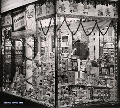 Elaborate displays of toys in the window of Woolworths Selsdon at Christmas, 1956
