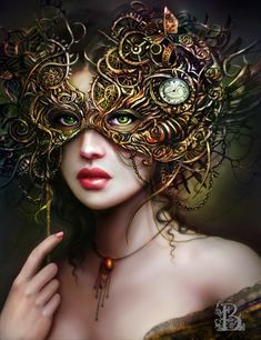 """Art by Brooke Gillette.  http://brookegillette.weebly.com/  She recognised the eyes through the heavy mask. The younger woman hadn't noticed her yet and continued her rounds of the room. """"Not this time,"""" she muttered, seeing her ready to slip from the ball. She wasn't going to let her have the upper hand this time, vanishing trick or not."""