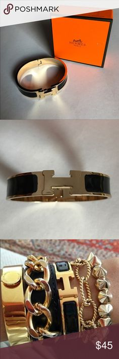 Black/Gold Hermes Clic H This is a Brand New Never worn Hermes Clic H in Black Enamel and Gold hard-wear [WITH HERMES BOX]. These bracelets are made from high quality materials that's won't fade or tarnish over time. If you have any questions or concerns or would like to reserve a bracelet that is not in stock, leave a comment bellow. (I CAN SHIP TODAY). Thanks and have a wonderful day !! 💋💋💋 Hermes Jewelry Bracelets