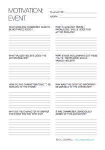 motivation event Creative Writing Worksheet