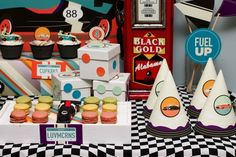 Dessert Table for a Vintage Race Car Birthday Party - Spaceships and Laser Beams