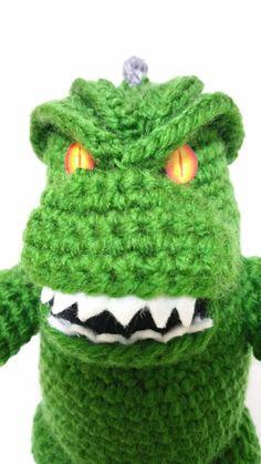 Godzilla monster halloween amigurumi Dinosaur t-rex Horror crochet doll amigurumi doll Crochet Things, Knit Or Crochet, Crochet Toys, Cthulhu, Godzilla Height, Japan Nuclear, Crochet Monsters, King Kong, Halloween Stuff