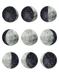 Artistically interpreted phases of the moon. Original hand painted watercolor design Comes in size with high quality inks on watercolor textured paper Watercolor Moon, Watercolor Design, Space Watercolor, Watercolor Texture, Watercolor Painting, Illustration Art, Illustrations, Moon Art, Moon Phases Art