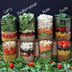 salad in a jar.  We started doing this and making a few salads and once.  Just grab out of the fridge and take to work.  Perfect for busy people on the go.