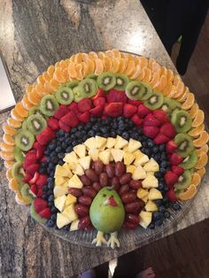 Thanksgiving Fruit, Thanksgiving Appetizers, Thanksgiving Recipes, Fall Recipes, Holiday Recipes, Fruit Turkey, Turkey Fruit Platter, Party Food Platters, Veggie Tray