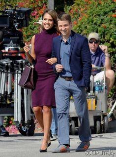 Celebrities Jessica Alba, Ben McKenzie and Pierce Brosnan on the set of their new comedy 'How To Make Love Like An Englishman' in Malibu. Ma...