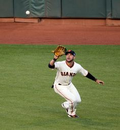 San Francisco Giants center fielder Gregor Blanco runs down Washington Nationals' Anthony Rendon's deep fly ball in the first inning of Game 4 of their National League Division Series, at AT&T Park in San Francisco, Calif., on Monday, Oct. 6, 2014. (D. Ross Cameron/Bay Area News Group)