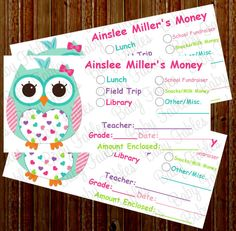 NEW Personalized School Money Stickers  Great for by babyfables, $7.50