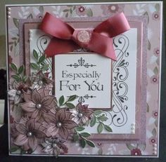 Card made using honeydoo flower stamps and creative expressions sentiment stamps