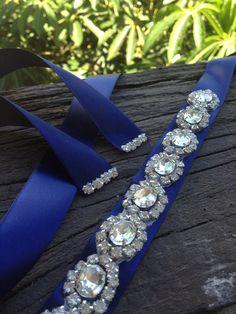 Blue navySilver Wedding Belt SashBridal SashBest by SilverBridals Wedding Jewelry For Bride, Wedding Tiaras, Wedding Belts, Bling Belts, Bridal Sash, Cute Bracelets, Brides And Bridesmaids, Wedding Accessories, Diamond Rings