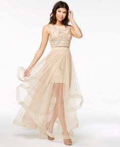29f528ae05 Say Yes to the Prom Juniors  Embellished Illusion-Skirt Dress