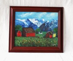 Norwegian Landscape Original Art Oil Painting Norwegian Farm at the mountains Oil Painting with frame Handcrafted in Norway Fri Shipping Vintage Table Linens, Art Christmas Gifts, Norwegian Rosemaling, Nordic Art, Blue Mountain, Art Oil, Norway, Folk Art, Scandinavian