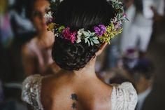 Corona de flores naturales - desde el columpio
