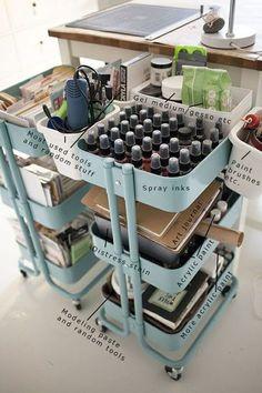 36 Creative ways to use the RÅSKOG Ikea kitchen cart - Decoration Ideas Scrapbook Room Organization, Craft Organization, Ikea Storage, Craft Room Storage, Craft Rooms, Storage Units, Ikea Raskog, Raskog Cart, Space Crafts