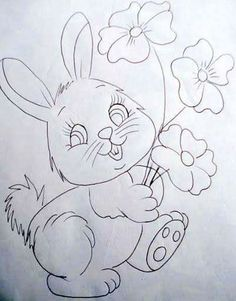 Girl Drawing Sketches, Art Drawings Sketches Simple, Easy Drawings, Bunny Coloring Pages, Easter Colouring, Stencil Painting, Fabric Painting, Embroidery Stitches, Embroidery Patterns