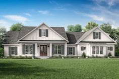 French Country Plan: 3,032 Square Feet, 4 Bedrooms, 2.5 Bathrooms - 041-00205 Craftsman Farmhouse, Craftsman Style House Plans, Modern Farmhouse Plans, Industrial Farmhouse, Farmhouse Homes, Farmhouse Design, Craftsman Exterior, Country Farmhouse, Contemporary Farmhouse Exterior