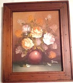 Wood Framed Oil on Canvas Floral Still Life Signed John Pictures To Paint, Limited Edition Prints, Still Life, Oil On Canvas, Paintings, Signs, The Originals, Wood, Frame