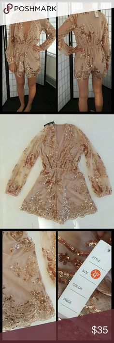 Rose gold Sequin sparkly romper playsuit Rose gold Sequin sparkly romper playsuit, NWT Very dreamy! Blush bodysuit with cute sequin details. There are belt loops incase you want to wear it with one, but doesn't come with one. No trades, price firm. Both photos are of actual product. Perfect for vegas, festivals, and of course NYE New Years! Dresses