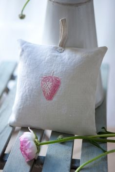Strawberry Lavender Cushions on Antique Linen by Peony and Sage