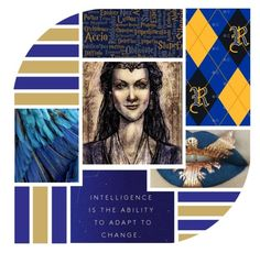 """""""Or Ravenclaw, the old and the wise, if you are awake and ready mind, reason and knowledge here find language that befits such people"""" by bambolinadicarta ❤ liked on Polyvore featuring art, ravenclaw and HarryPotterSaga"""