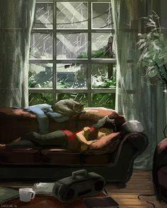 Cosy Rain, ein Kunstdruck von Lucy He Cozy Rainy Day, Rainy Days, Rain Art, Cute Illustration, Illustration Artists, Aesthetic Art, Aesthetic Drawings, Cute Art, Art Girl