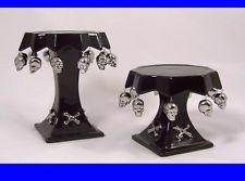SKULL & BONES Pillar Candler Holders ceramic Halloween Gothic Decor NEW Set of 2