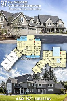 Architectural Designs Craftsman House Plan 69665AM 5+ BR | 5.5+ BA | 6,300+ Sq.Ft. | Ready when you are. Where do YOU want to build? #69665AM #adhouseplans #architecturaldesigns #houseplan #architecture #newhome #newconstruction #newhouse #homedesign #dreamhome #dreamhouse #homeplan #architecture #architect