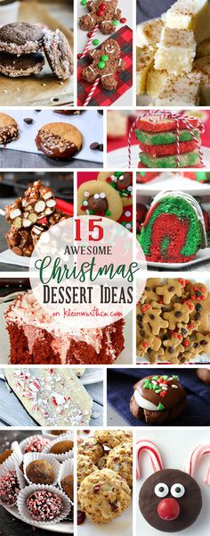 15 AWESOME Christmas Dessert Ideas are truly the perfect holiday treats. Cookies, chocolate bark, truffles & more! Perfect for gifts too! via @KleinworthCo