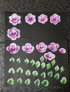 Rosas doble carga Acrylic Painting Tips, One Stroke Painting, Tole Painting, Fabric Painting, Painting & Drawing, Flower Nail Art, Flower Crafts, Nail Art Modele, Mixing Paint Colors