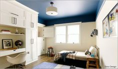 Blue Ceiling - Painting the ceiling in a feature colour in a bedroom works because you see the ceiling when laying in bed