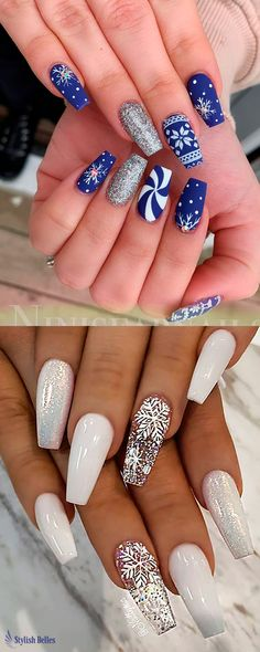 Here are the best Christmas acrylic nails designs, cute Christmas nails and red Christmas nails 2018 that We've Cherry Picked, to act as an inspiration for you! Blue Nail Designs, Winter Nail Designs, Best Nail Art Designs, Christmas Nail Designs, Acrylic Nail Designs, Cute Christmas Nails, Xmas Nails, Holiday Nails, Blue Christmas