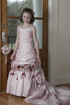 Spaghetti Ruffels Satin Flower Trimed Perfect Junior Bridesmaid Dresses