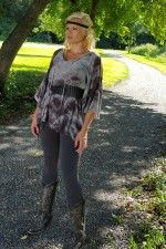 Tie Dye Cold shoulder top wear belted or unbelted.  shoulders have a peek a boo design, tie dye ranges from light grey, charcoal grey, black to a light sage green.  dress it up or dress it down #partyshirt www.laneylus.com